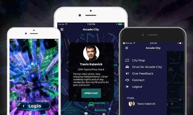 screenshots of Arcade City's ride-sharing app