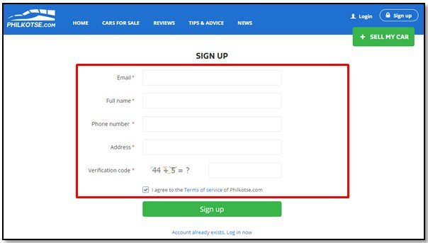 Screenshot of Philkotse Sign up page