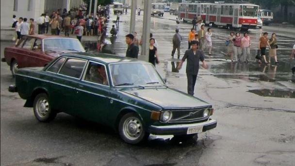 A green 1974 Volvo 44 in North Korea