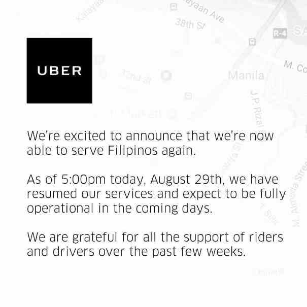 Uber official annoucement about resuming its services