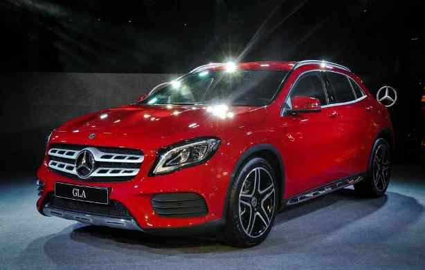 Red 2018 Mercedes-Benz GLA-Class angular front view