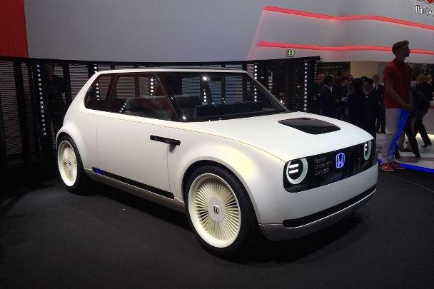 A white Honda Urban EV Concept angular front view