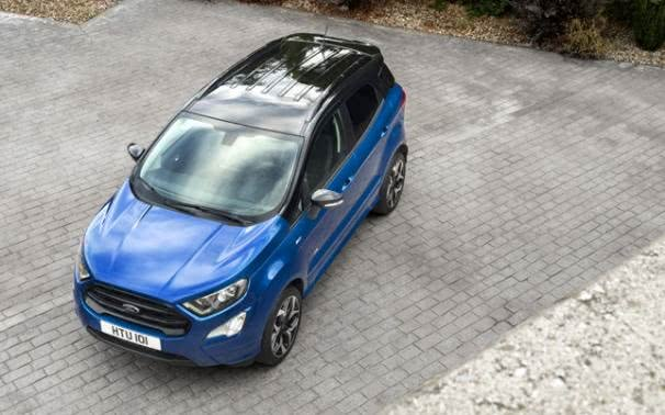 A blue Ford EcoSport 2018 on the yard