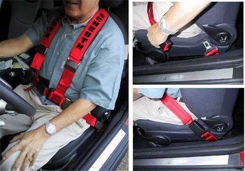 A man wearing a 3-point seat belt