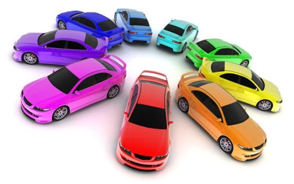 Cars in different colors