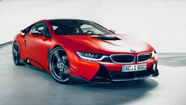 A red modified BMW i8 angular front view