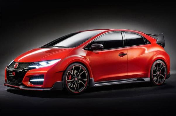 Angular side of a red Honda Civic type R 2017