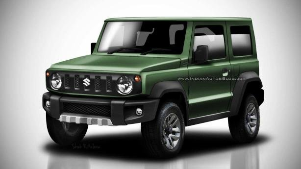 Angular front of a green Suzuki Jimny 2018