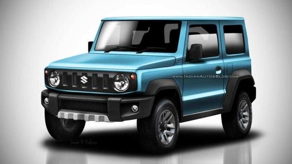 Angular front of a blue Suzuki Jimny 2018