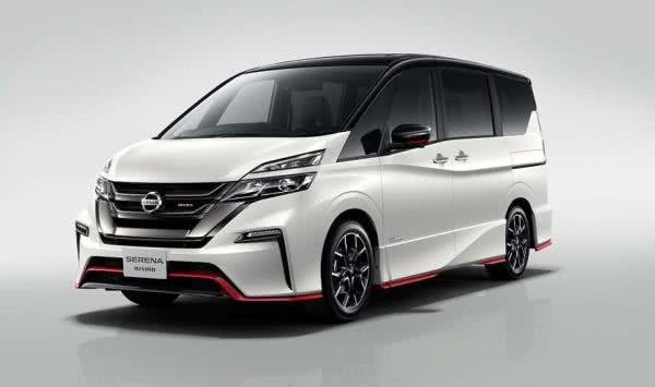 A white Nissan Serena Nismo 2018 angular front view
