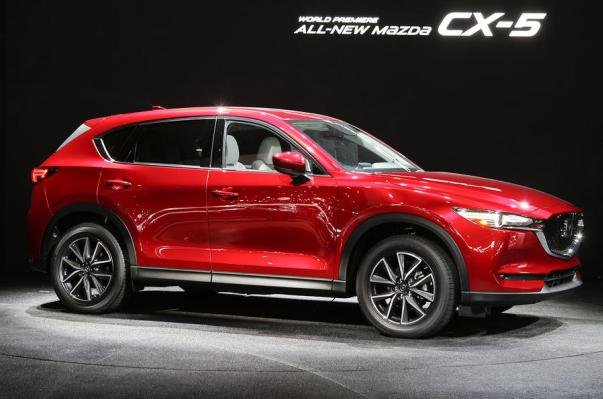 Angular side of a red Mazda CX-5 2017