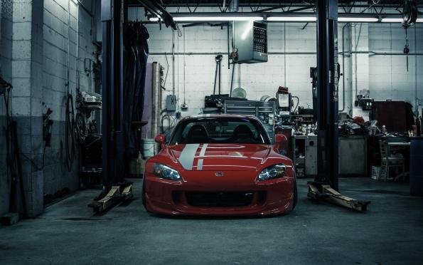 a car in garage