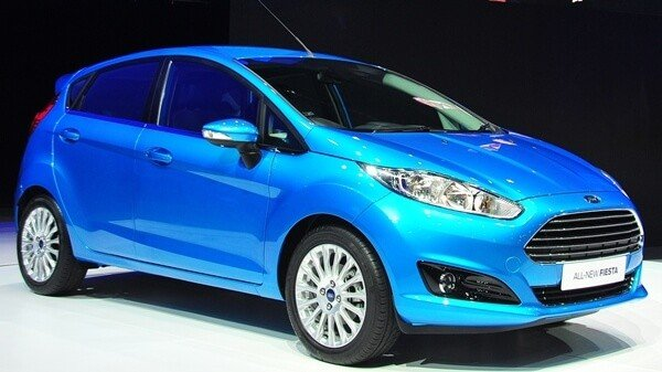 Angular front of a blue Ford Fiesta