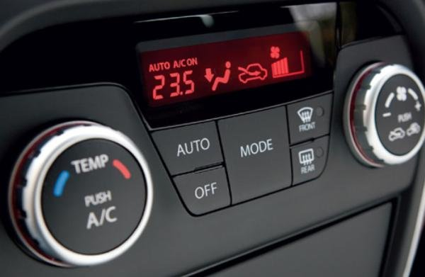An air condition control in a car