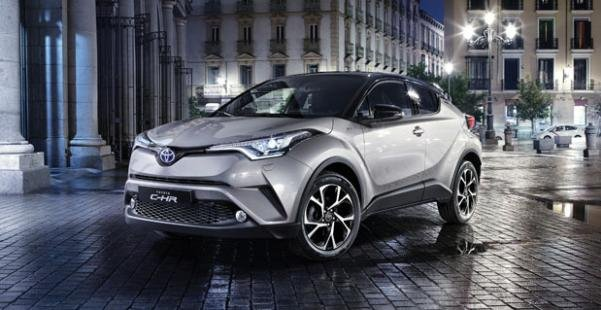 Angular front of a silver Toyota C-HR