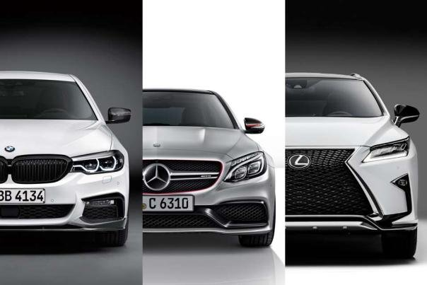Lexus, BMW and Mercedes-Benz cars