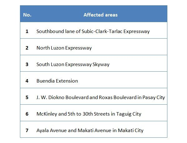 affected areas in Metro Manila during 31st ASEAN Summit