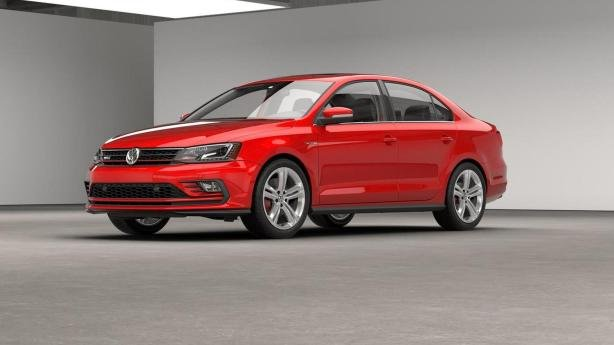 Angular front of a red VW Jetta GLI 2018
