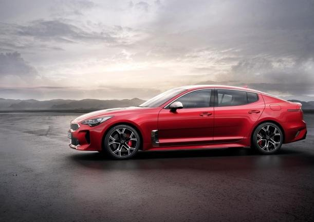 Side view of a red Kia Stinger GT Line 2018