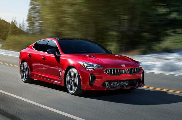 A red Kia Stinger GT Line 2018 on the road