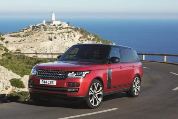Angular front of a red Land Rover Range Rover