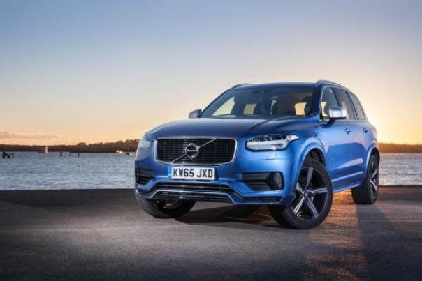 Angular front of a blue Volvo XC90