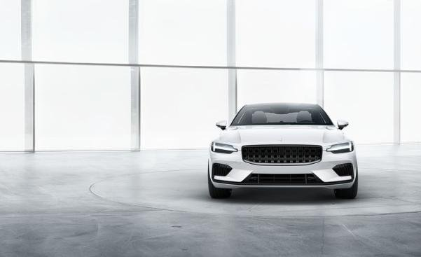 Front view of a white Polestar 1 2020