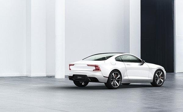 Angular rear view of a white Polestar 1 2020