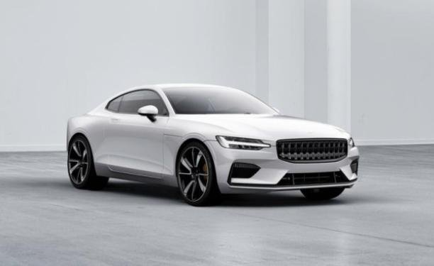 Angular front of a white Polestar 1 2020