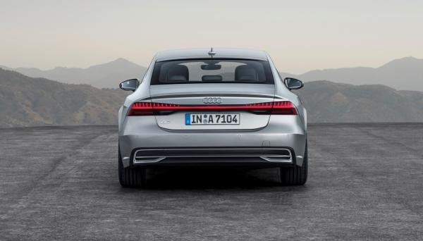 Rear view of an Audi A7 2019