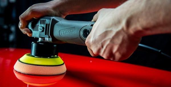 using circular polisher on a car