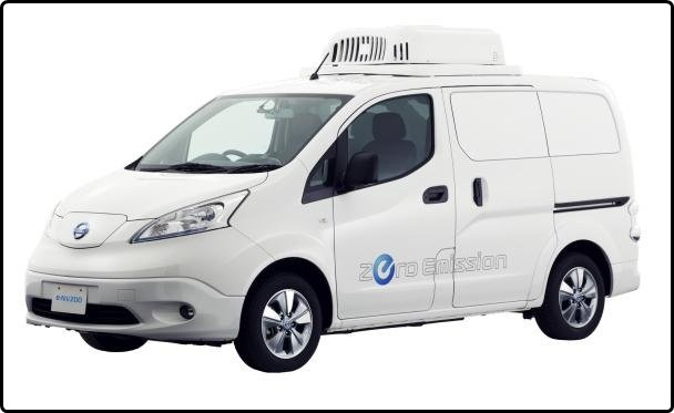 Angular front of the Nissan e-NV200 Fridge 2018