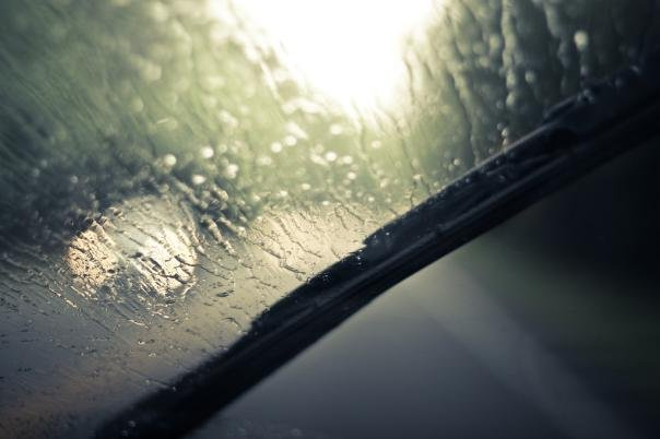 Windshields are blurred because of rain