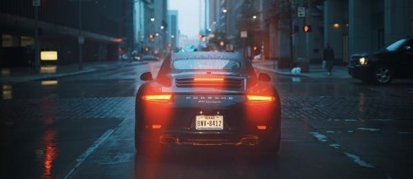 A Porsche's taillights