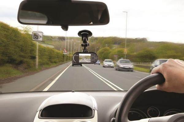 A dash camera in a car