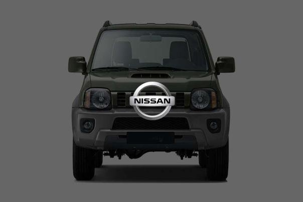 Front view of a Nissan car