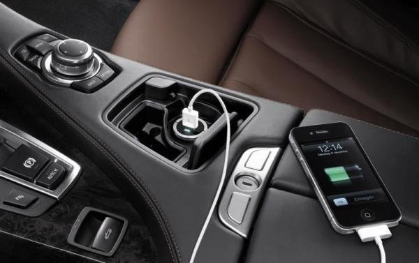 a USB charger in a car