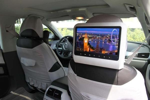 a portable DVD player in a car