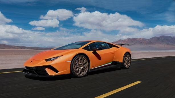 A Lamborghini Huracan on the road