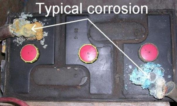 example of typical corrosion on car battery