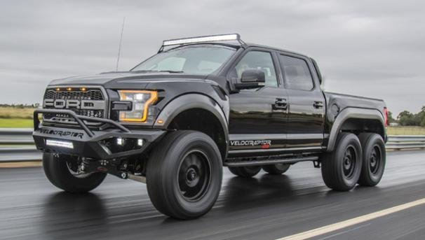 Angular front of a Ford VelociRaptor 6x6 2018