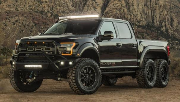 Angular front of a Ford VelociRaptor 6x6
