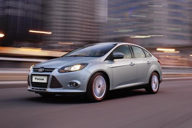 Ford Focus sedan on the road