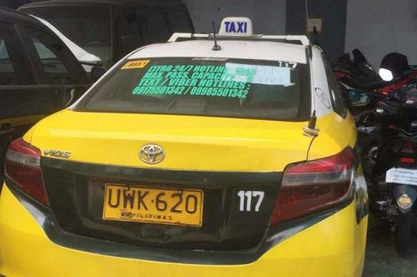rear view of a taxi