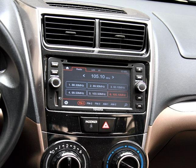 A touchscreen infotainment system of a Toyota Avanza 2018