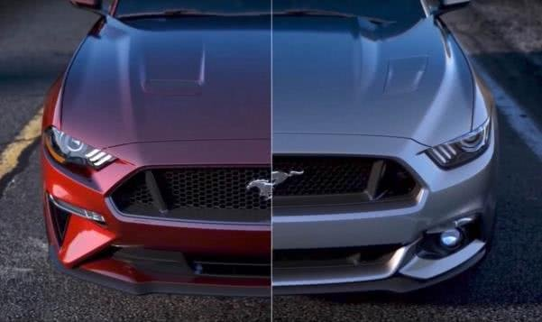 Ford Mustang 2018 front fascia vs. Ford Mustang 2017 front fascia