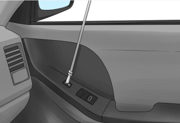 Using a long rod to break automatic lock on car