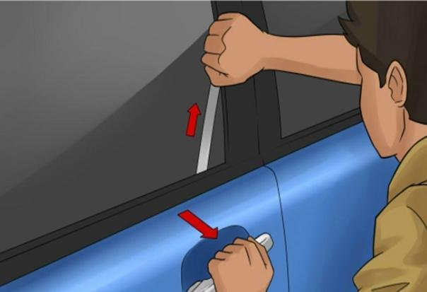 Slide the metal tool toward the car door lock