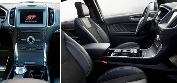 Ford Edge 2019 ST center console and front seats