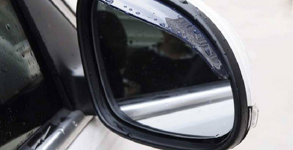 Rainproof cover for rearview mirrors on a car